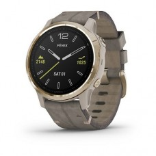 Garmin Fenix 6S Light Gold tone with Shale Gray Leather Band 010-02159-40