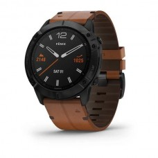 Garmin Fenix 6X Pro Sapphire Black DLC with Chestnut Leather Band (010-02157-13)